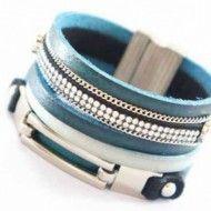 Bracelet Metal and Blue Rhinestone