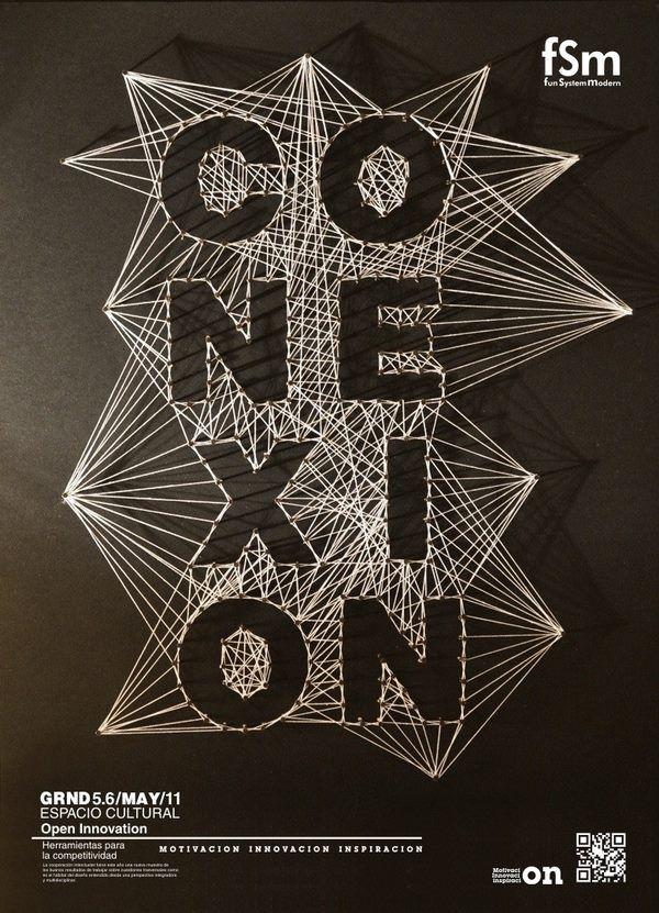 TIPOGRAFIA hecha una vez mas con hilo, creando sensación de profundidad, una tipografía creada para un diseño artístico.