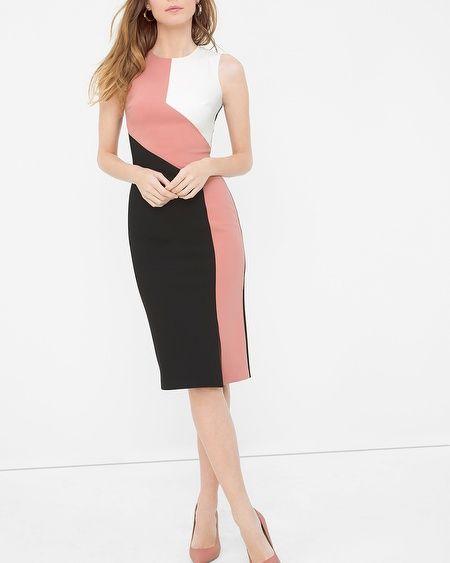 White House | Black Market Diagonal Colorblock Sheath Dress #whbm