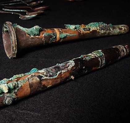A wooden clarinet salvaged from Titanic.
