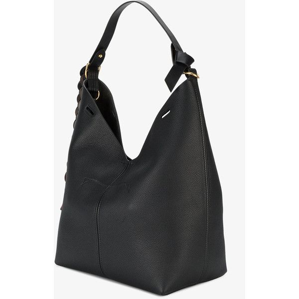 Anya Hindmarch Black Small Bucket Shoulder Bag with Circle Strap (41 420 UAH) ❤ liked on Polyvore featuring bags, handbags, shoulder bags, strap purse, shoulder strap handbags, circle handbags, shoulder bag purse and anya hindmarch purse
