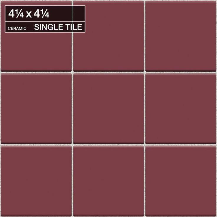 "Daltile QF47-441P Festiva Bordeaux 4 1/4"" x 4 1/4"" Glazed Stone Multi-Surface Ti Bordeaux Tile Multi-Surface Tile Field Tile"