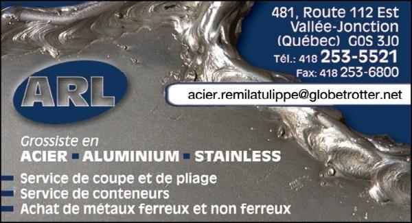Les Aciers Rémi Latulippe, sont des grossiste en acier, aluminium, stainless, il offre le service de coupe et de pliage de différent métaux, achat de métaux ferreux et non-ferreux, récupération de différents matériels métallisés.