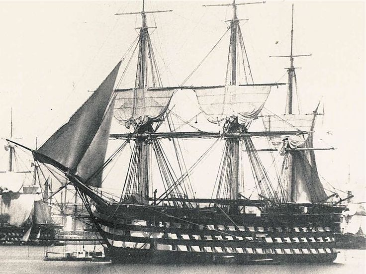 """Montebello"" 118 guns. French first-rate ship of the line, laid down at Toulon in 1810, launched 1812. One of the 16 ""Ocean"" class ships of the line, this was the most powerful class of warship built by any power in the Napoleonic period. 10 were completed during the wars. Good, powerful gun platforms and, for first-rates, a good turn of speed (10 knots). Extremely expensive ships. This shows Montebello about 1850, just before she was fitted with experimental steam propulsion. Scrapped 1889."