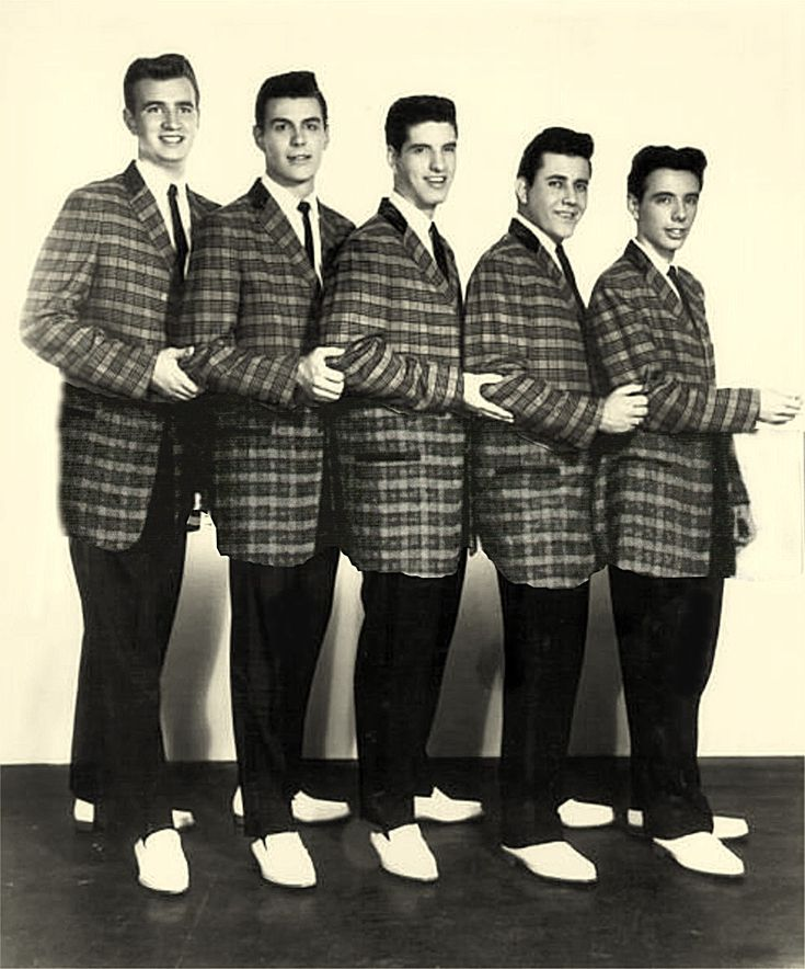 The Royal Teens - 1958 -- that's Bob Gaudio in the middle (check out their great white bucks they all have on!) - Bob Gaudio was a founding member of The Four Seasons just 1 year after this photo.  He wrote Sherry, and co-wrote Big Girls Don't Cry, Walk Like a Man, Dawn, Ronnie, Rag Doll, Can't Take My Eyes Off You and tons of others.