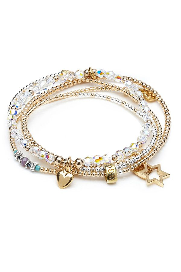 Join the ANNIE HAAK gold rush with this Rigal Bracelet Stack designed using 14ct Gold plated beads, genuine Swarovski Crystals & 925 sterling silver beads