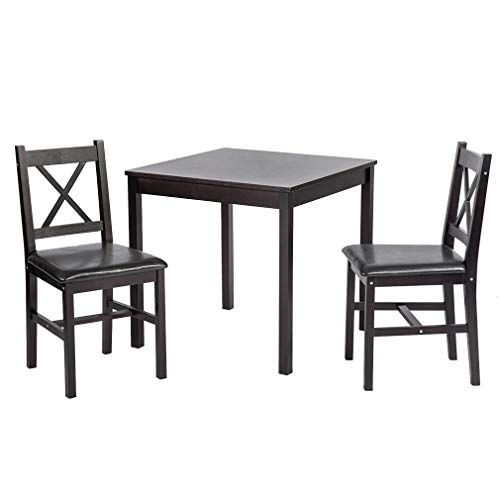 0b7362e2b2 BestMassage Dining Kitchen Table Dining Set Wood 3 Piece Upholstered Grid  Dining Room Table and Chairs for 2