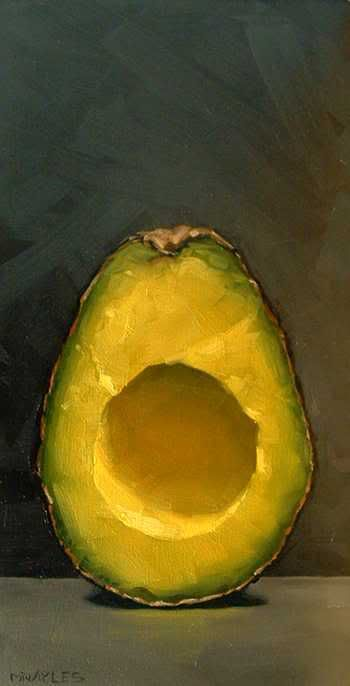 "MICHAEL NAPLES. ""Avocado Half Part 1"" Oil on Board. Approx 4""x8"" SOLD. ""This is part 1 of a 2 part painting."""