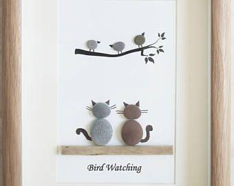 Galet Art encadré photo observation des oiseaux