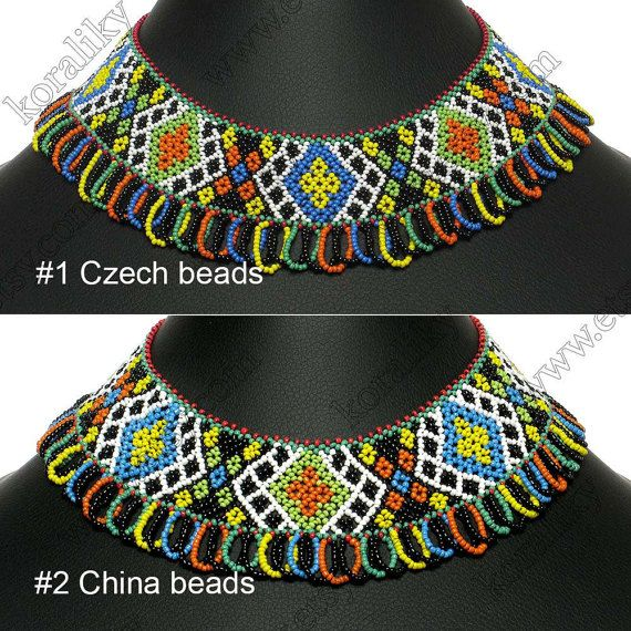 WITHOUT INTERMEDIARIES. Handmade. Made from strong and durable polyester thread. The clasp is sewn extra securely. At the top of the necklace where it is under additional stress, its secured with additional thread.  Custom sizes and colors available upon request. Color: multicolor. Material #1: Czech Glass Beads Preciosa 10/0. Material #2: China Beads.  Length of inner circle: S (~38 cm) - 14.95 in, M (~41 cm) - 16.15 in, L (~44 cm) - 17.30 in. Width: (~7 cm) - 2.8 in. Average weight: 74g…