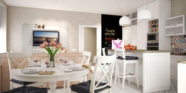 Просторная кухня-гостиная, уютные спальни и лаундж-зона в мансарде – рассказываем об интерьере трехэтажного таунхауса, где есть все необходимое для комфортной загородной жизни