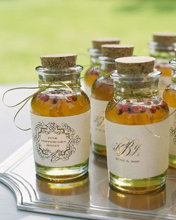 Sweet and spicy jars of peppercorn honey  with personalized labels