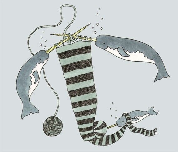 Knitting Narwhals 8x10 print by sadlyharmless on Etsy, $15.00