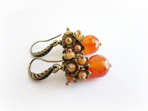 Floral earrings carnelian earrings orange by MalinaCapricciosa