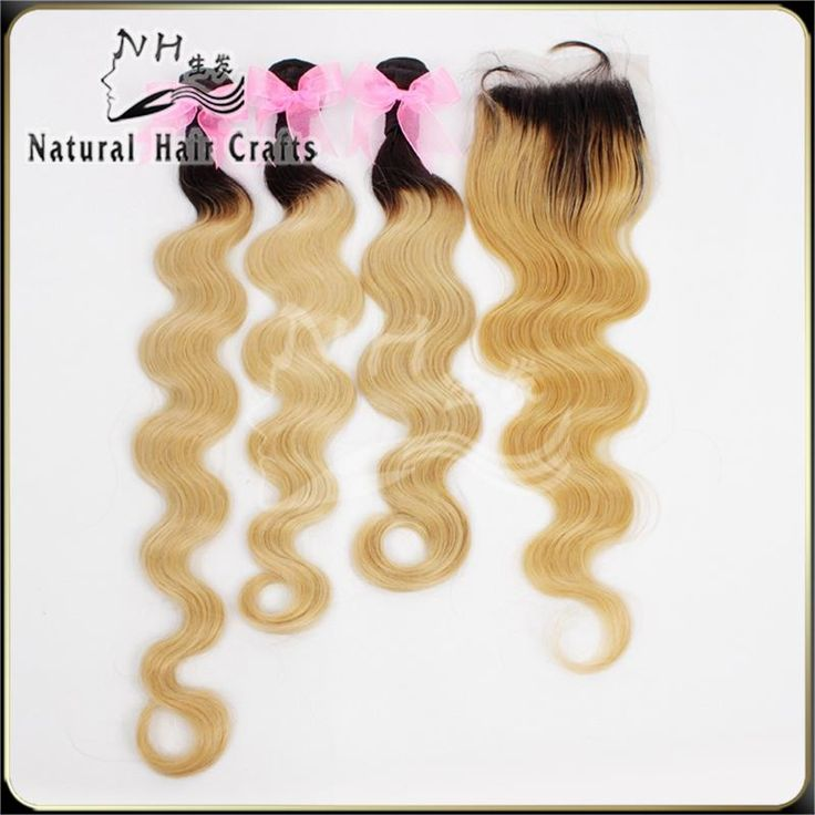 """Find More Hair Weft with Closure Information about Two tone ombre brazilian hair with closure blonde 1b/27 free shipping 8"""" 30"""" ombre hair extensions virgin hair body wave,High Quality brazilian hair,China brazilian hair factory Suppliers, Cheap hair grade from Natural Hair Crafts Factory on Aliexpress.com"""