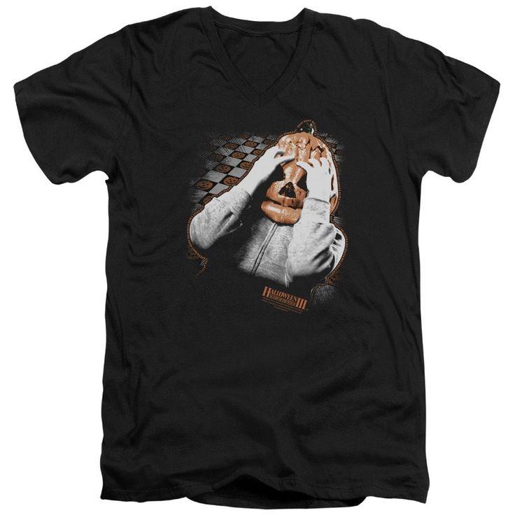 Halloween Iii - Pumpkin Mask Adult V-Neck T-Shirt