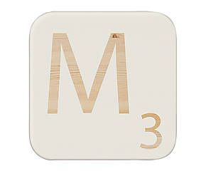Cuadro de madera de pino maciza Letra M, blanco - 15x15cm