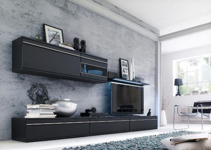 deko ideen wohnzimmerschrank wohnwand magic 2 schwarz matt ...