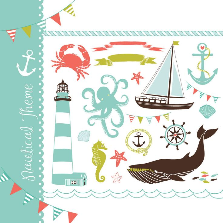 Nautical clip art collage, hand drawn sea clipart, sailboats, lighthouse, whale, anchor. for Personal and small Commercial Use. $4.99, via Etsy.