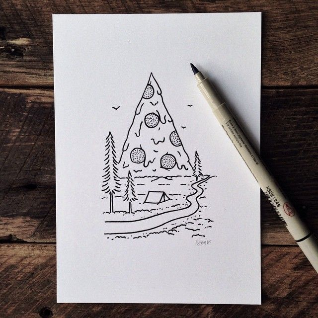 steelbison: Mount Pizza National Park. #illustration #PizzaOrDeath #pizza