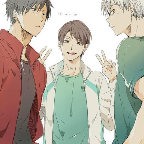 wow, captains without hair styling~  Oikawa Tooru, Kuroo Tetsuro, Bokuto Kotarou