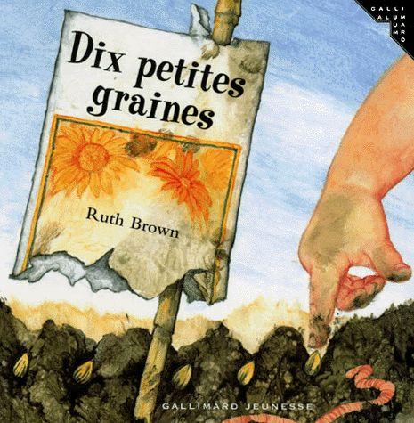 CPRPS 31997000902700 Dix petites graines. Un petit garçon plante dix graines, mais les animaux et les insectes ne permettent qu'à une seule d'arriver à maturité. Superbes illustrations qui témoignent encore une fois du talent de Ruth Brown. [SDM]