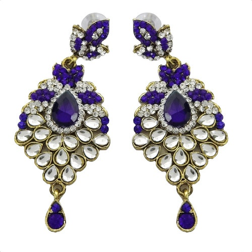 Wedding Wear Gold Tone Royal Blue CZ Necklace Set Indian Bridal Costume Jewelry | eBay