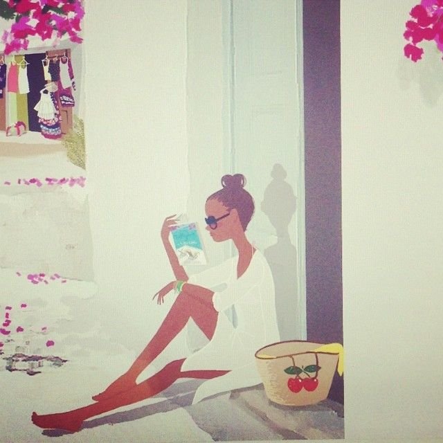 Reading. Illustration by Adrian Valencia via Instagram