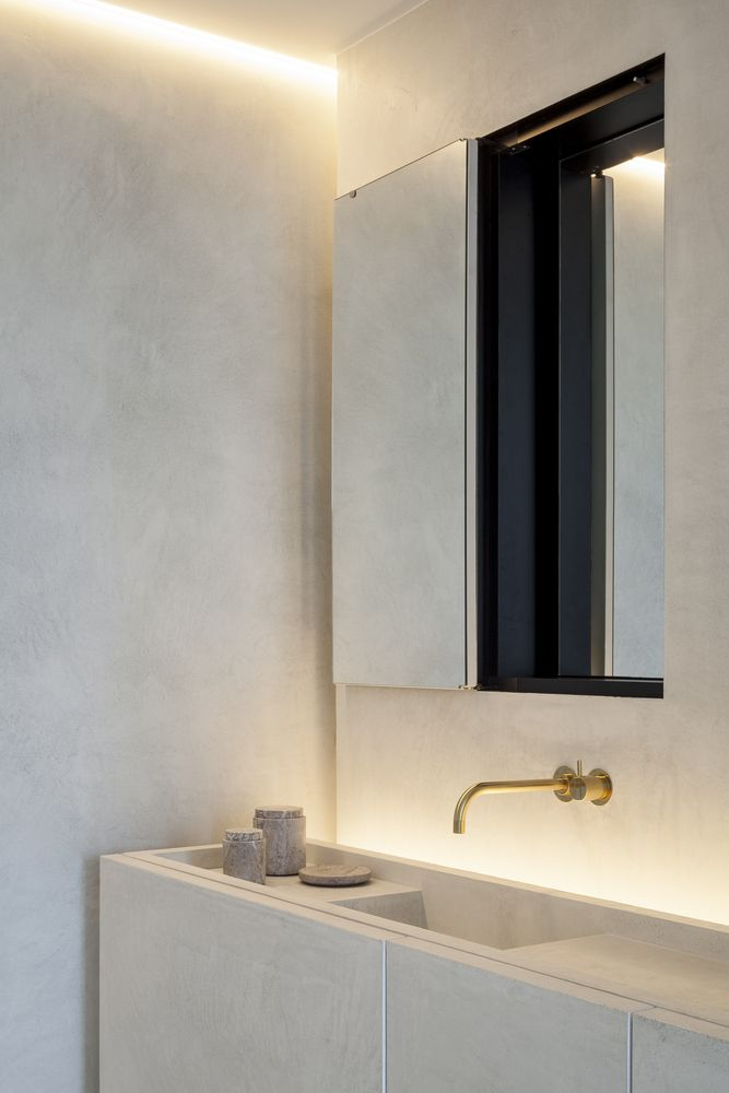 | EXTERIOR + DETAIL | Residence VDB,© Tim Van De Velde | Architecture: #Govaert&VanhoutteArchitects | love a timeless beautiful interior when a singular material palette, gorgeous vanity detailing all in stone