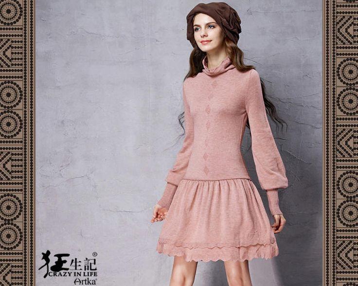 Оптимістичний оригінальний дизайн зима новий дорослий мило водолазку шерсть змішує двох частин стиль перемикання лінії трикотажні сукні (міні-довжина / довжина коліна / в'язати туніку / довгі рукава / червоний / бежевий / рожевий / фіолетовий / чорний): Yuki Closet