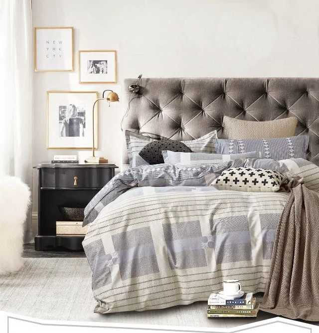 Obojstranné posteľné prádlo sivej farby