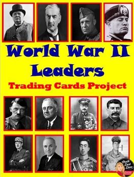 This is a fun and interactive project to get your students to learn about the important leaders of World War II. Students will be assigned 3 out of 12 leaders of WWII and create trading cards with important information about their assigned leader. On the due date, the students trade their cards with their assigned group members. All students will end up with 12 leader cards. They can use the cards to study. A review game and quiz are included to check their knowledge about each leader. FUN!