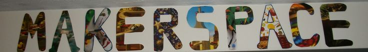 Makerspace sign made from pages from an old I Spy book.