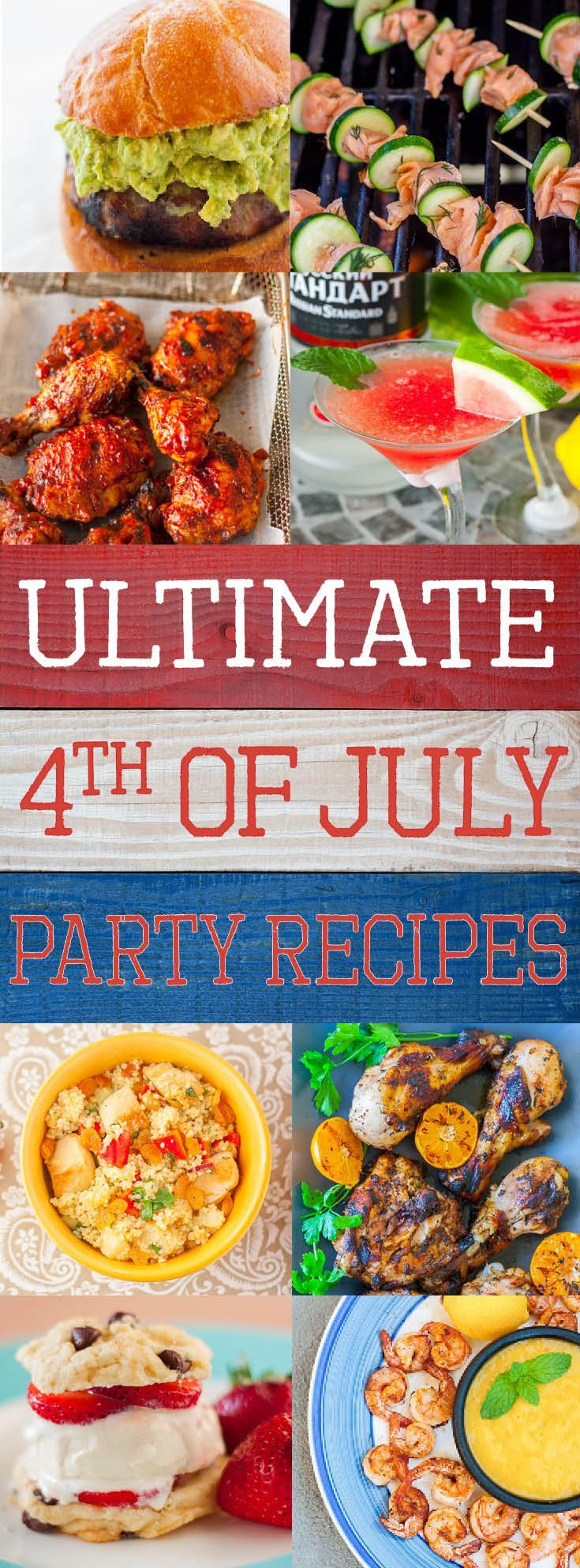 Perfect 4th of July Party menu recipes roundup from Plating Pixels. Grilled, barbecued, sides and dessert recipes. Chicken, stuffed burger, salmon, desserts and a summer cocktail. - www.platingpixels.com