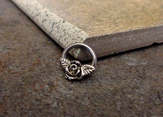 Flower Septum Ring, Cartilage Ring, Tragus Ring, Nipple Ring, Captive Bead Surgical Steel Piercing Jewelry 16G, 14G