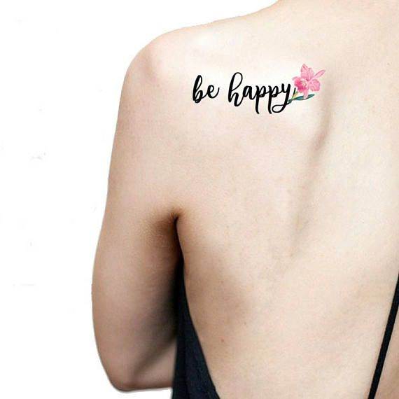 Be happy quote temporary tattoo / pink orchid tattoo / floral