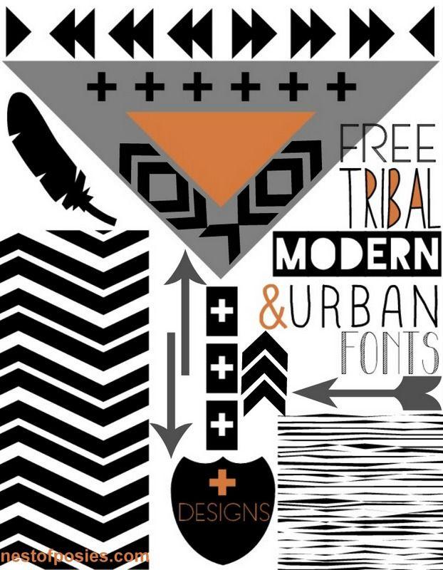 FREE Tribal, Modern, Urban Fonts + Designs via @Kellie~Nest of Posies