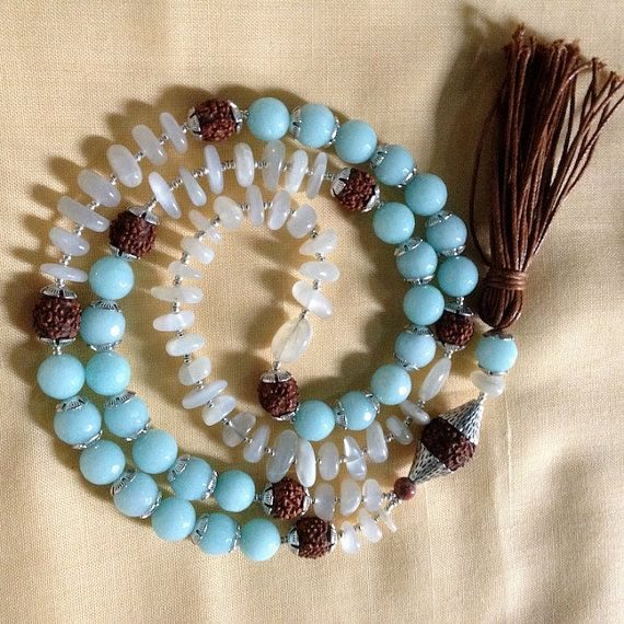 Dhanvantari's Amrit  Abhaya  Fearlessness 108 Bead Yoga Mala - shop for good karma - you have never seen malas like these before - POWERFUL !