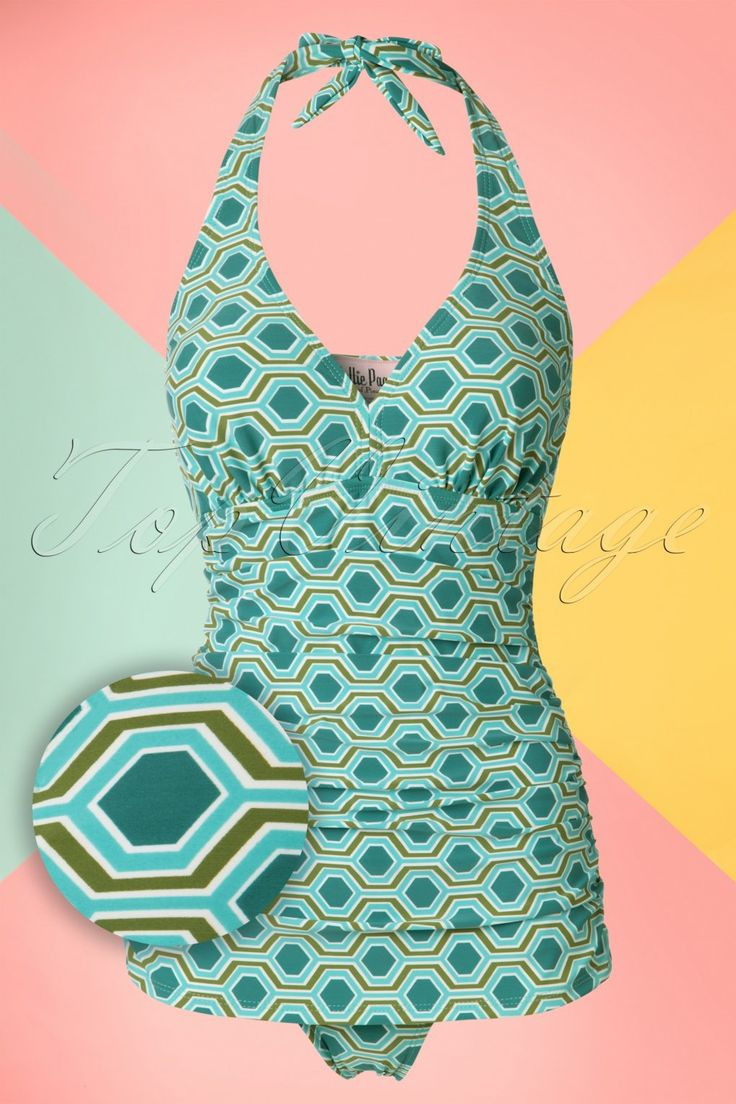 1960s Style Swimsuits 50s Retro Rushed Halter Swimsuit in Blue and Green £84.55 AT vintagedancer.com
