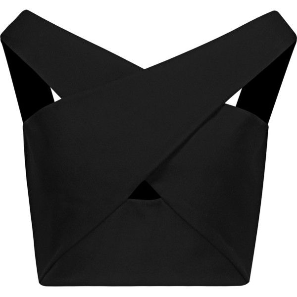 Michelle Mason - Cropped Off-the-shoulder Wrap-effect Ponte Top (130 CAD) ❤ liked on Polyvore featuring tops, black, wrap around top, off the shoulder crop top, wrap crop top, ponte crop top and off shoulder tops