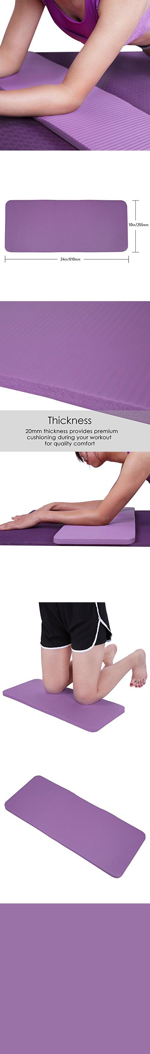 """HDE Yoga Knee Pad 20mm Thick Anti-Slip Workout Mat for Yoga Pilates Fitness and Exercise Pressure Point Relief Pain Free 24""""x10"""" Cushion (Purple)"""