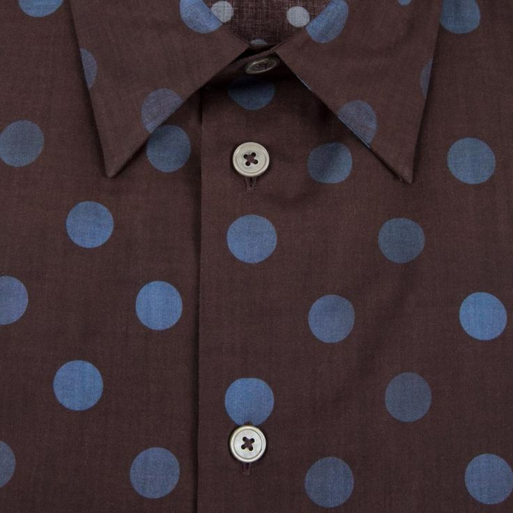 Men's slim-fit brown long-sleeve shirt, crafted in Italy from 100% cotton with a lightweight handle and indigo polka dot print throughout.