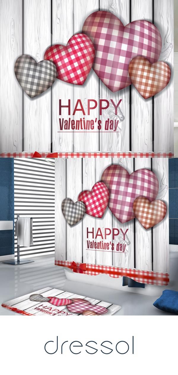 Valentines Day Plaid Heart Pattern Waterproof Shower Curtain