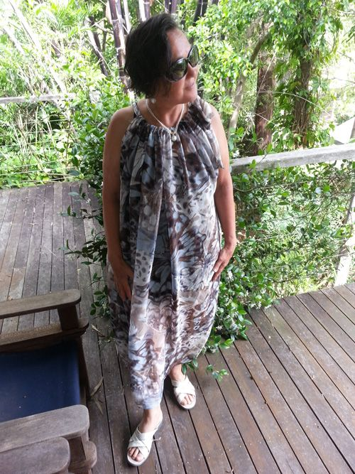 Sew 350 - Giving while living - resew a length of silk into a beach shift