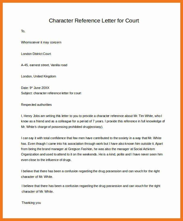 30 Recommendation Letter For Court In 2020 Examples Of Character