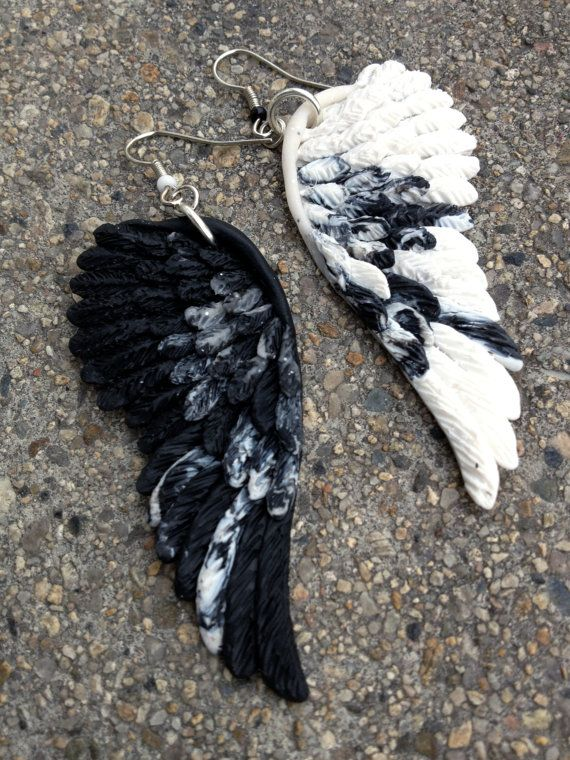 Black and White Earrings Angel Polymer Clay by PANDORAartshop, $20.00