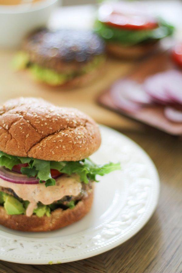 Southwest Turkey Burgers with Chipotle Yogurt Sauce | http://www.theroastedroot.net