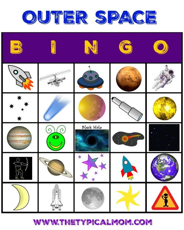 Space activities for kids to do at home plus a free printable space bingo game that is great for Birthday parties or the classroom.