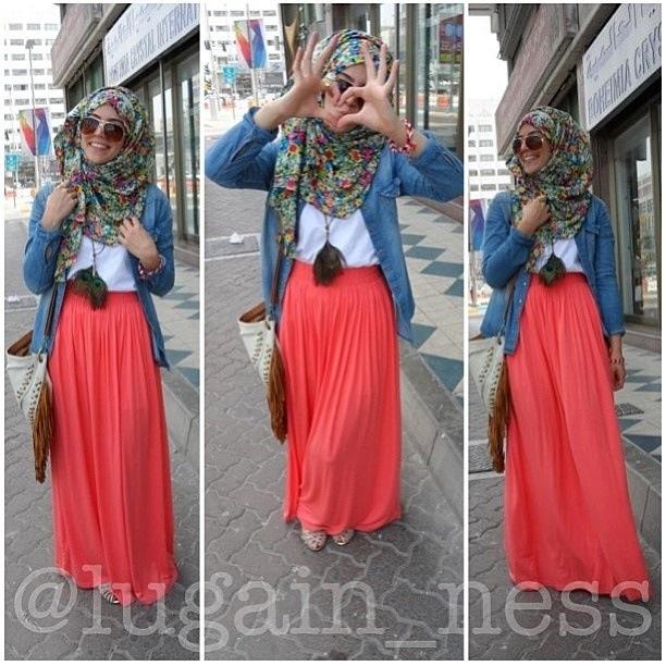 Denim shirt, coral skirt , floral hijab