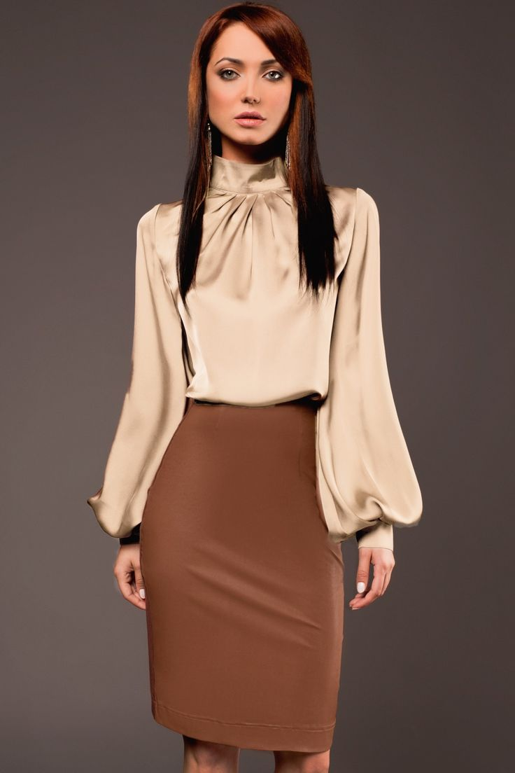 Turtleneck satin blouse                                                                                                                                                                                 Plus